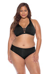 Model posing in the BECCA ETC Color Code Women's Plus Size Black Bralette Bikini Top