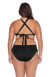 Model's back posing in the BECCA ETC Color Code Women's Plus Size Black Bralette Bikini Top