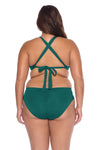 Model posing in the BECCA ETC Color Code Women's Green Fern Bralette Bikini Top back