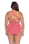 Model's back posing in the BECCA ETC Color Code Women's pink plus size vintage bikini bottom swimsuit