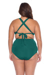 Model's back posing in the BECCA ETC Color Code Women's green plus size vintage bikini bottom swimsuit