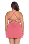 Model's back posing in the BECCA ETC Color Code Women's pink plus size sarong skirt