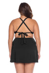 Model's back posing in the BECCA ETC Color Code Women's Black Plus Size Bralette Bikini Top Back