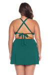 Model posing in the BECCA ETC Color Code Women's Green Fern plus-sized Bralette Bikini Top back