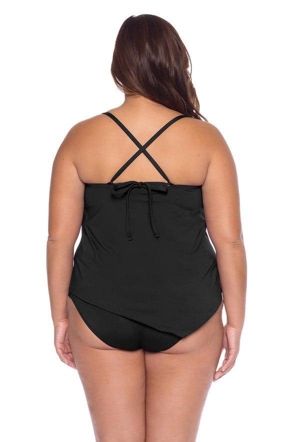 Model's back posing in the BECCA ETC Color Code women's black plus size tie side tankini top