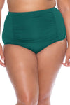Model posing in the BECCA ETC Color Code Women's green plus size vintage bikini bottom swimsuit