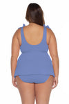 Model's back posing in the BECCA ETC Color Code Women's blue colored plus size bikini bottom