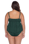 Model posing in the BECCA ETC Color Play Women's green plus size crochet tankini swimsuit top