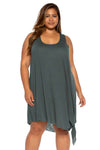 Breezy Basics Plus Size Beach Dress - Basil