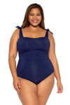 Color Code Plus Size One Piece Swimsuit - Navy