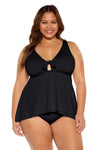 Color Code Plus Size Tankini Top - Black