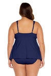 Color Code Plus Size Tankini Top - Navy