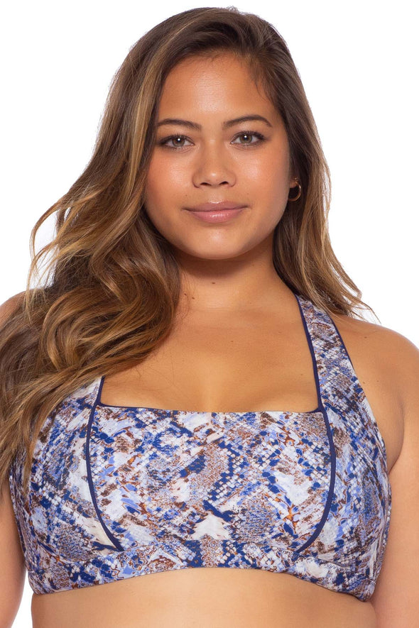 Animal Kingdom Plus Size Bralette Bikini Top - Python