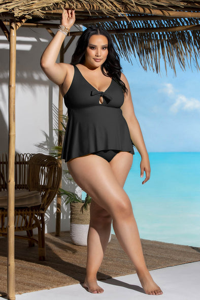 Color Code Plus Size Tankini Top - Black - BECCA ETC Swim
