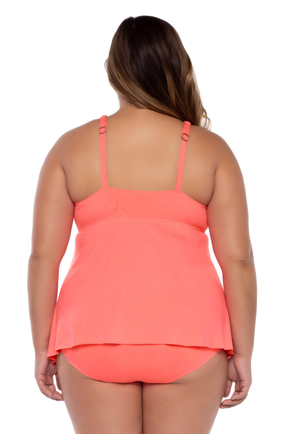 Color Code Plus Size Tankini Top - Coral - BECCA ETC Swim