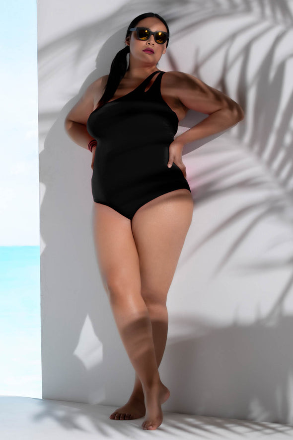 Color Code Plus Size One Shoulder One-Piece Swimsuit - BECCA ETC Swim
