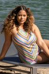 East Village Plus Size Handkerchief Tankini Top
