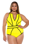 Scuba Plus Size High Neck One Piece Swimsuit - Catherine Li x BECCA ETC