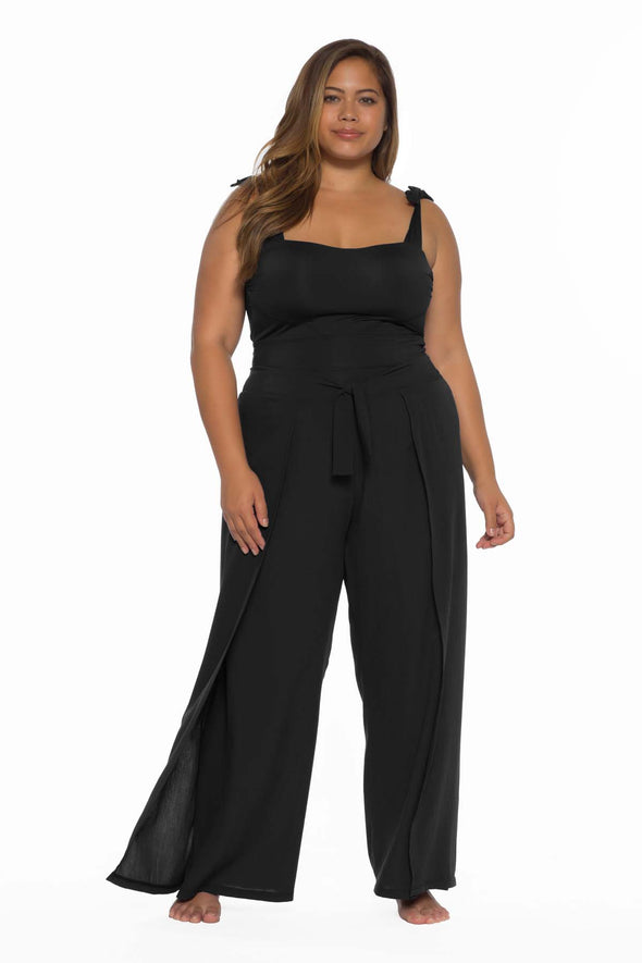 Globe Trotter Plus Size Beach Pant - Black