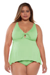 Color Code Plus Size Tankini Top - Mint - BECCA ETC Swim