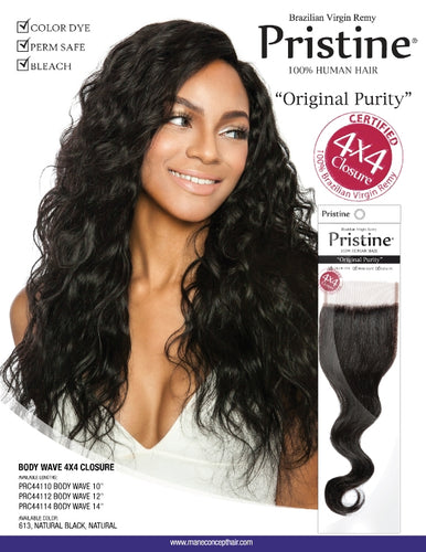 PRISTINE - PSC4x4 BABY HAIR CLOSURE BODY WAVE