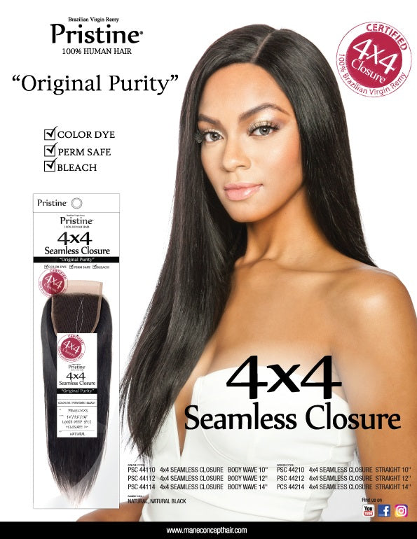 PRISTINE® - PSC44214 -PSC4x4_BABY HAIR CLOSURE STRAIGHT 14