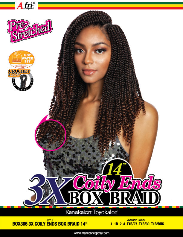AFRI® - BOX306-3X COILY ENDS BOX  BRAIDS 14
