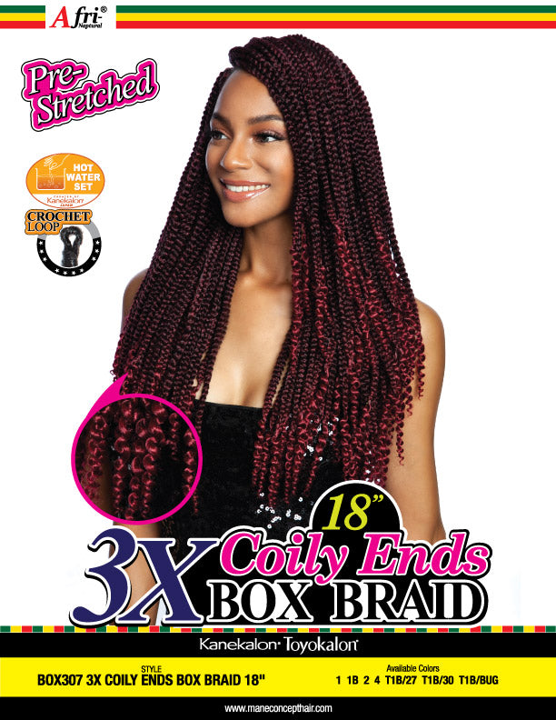 AFRI® - BOX307-3X COILY ENDS BOX  BRAIDS 18