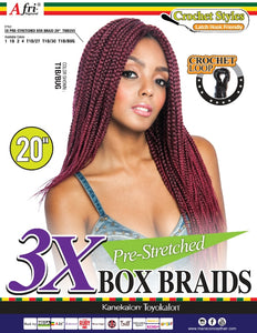 AFRI - 3X PRE-STRETCHED BOX BRAID 20""