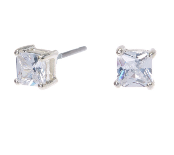 CUBIC ZIRCONIA SQUARE 4MM SILVER