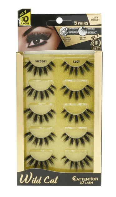 EBIN® WILD CATTENTION 3D LASHES - 5 PAIRS
