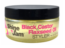 Load image into Gallery viewer, AMPRO® SHINE N JAM BLACK CASTOR & FLAXSEED OIL STYLER 8 OZ