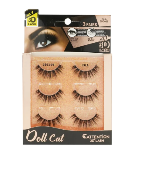EBIN® DOLL CATTENTION 3D LASHES - 3 PAIRS