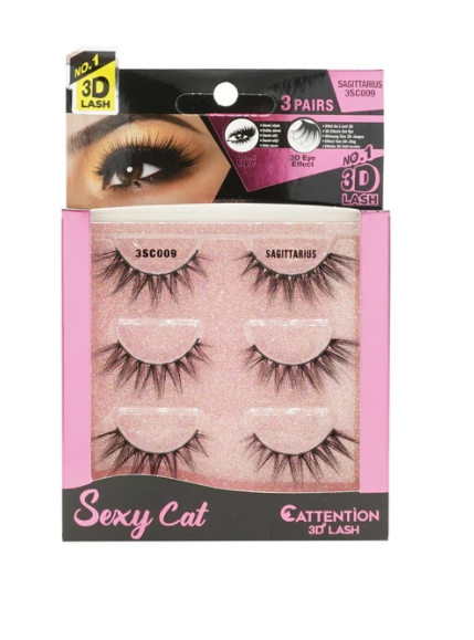 EBIN® SEXY CATTENTION 3D LASHES - 3 PAIRS