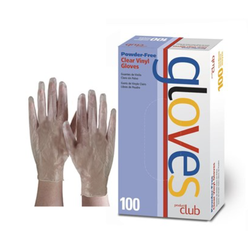 PRODUCT CLUB CLEAR VINYL DISPOSABLE GLOVES - POWDER FREE 100 CT.
