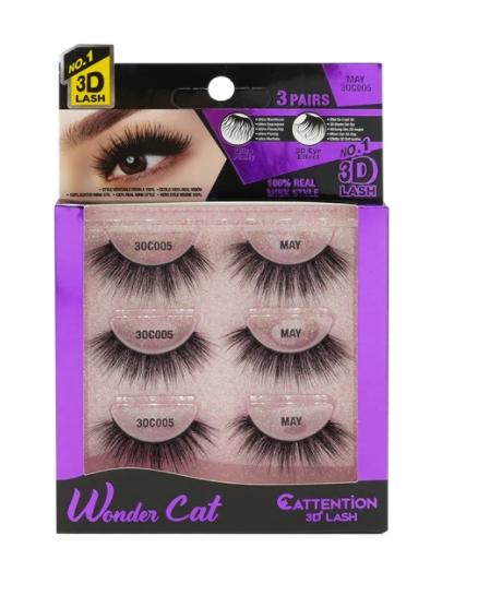 EBIN® WONDER CATTENTION 3D LASHES - 3 PAIRS