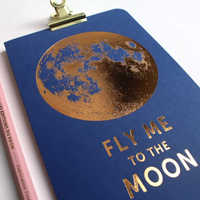 CARTE FLY ME TO THE MOON BLEU SAPHIR