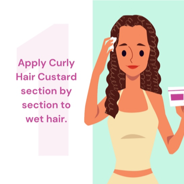 Woman applying Curly Hair Custard to Hair