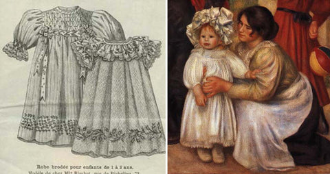 From left to right : Image from La Mode illustrée published on the  22nd March 1896 - embroidered dresses for babies - boutique  Au Fil du temps  on Ebay - Family of the artist, Pierre et Jean Renoir painted by Auguste Renoir, 1896