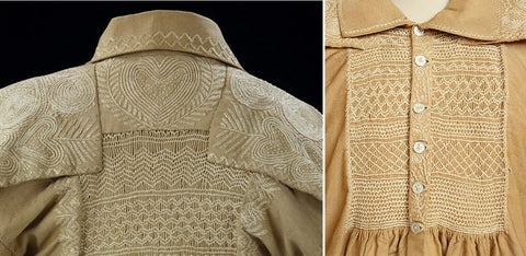 Smocks of an English peasant, embroidery detail, 1830-1869, Victoria & Albert Museum, London