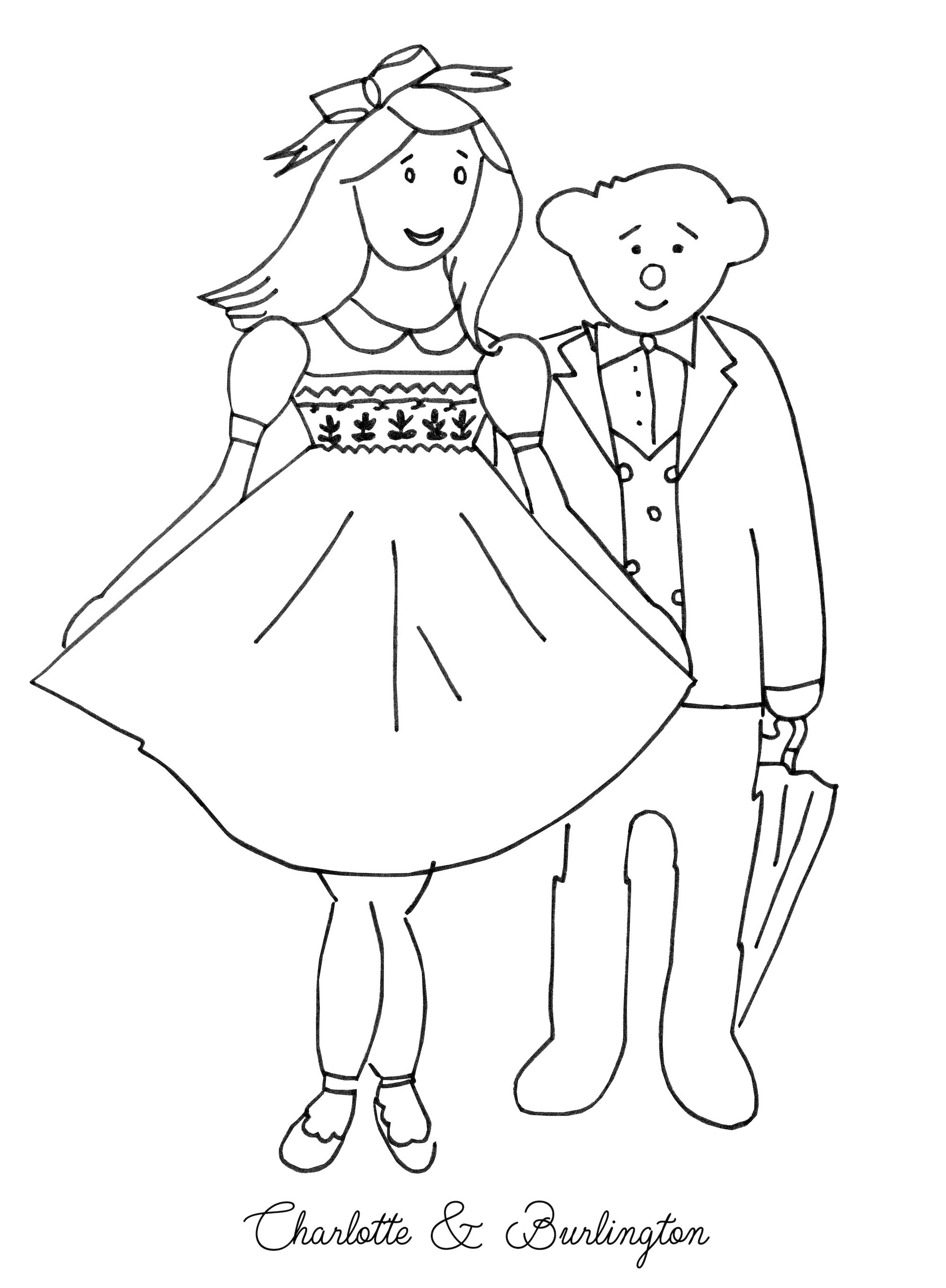 Free coloring for children Burlintgton bear and Charlotte