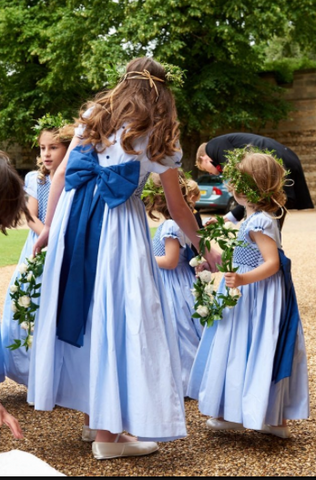 Special order of handmade smocked dresses for the wedding of Laline Hay, youngest daughter of the Earl of Errol and Captain Jeremy