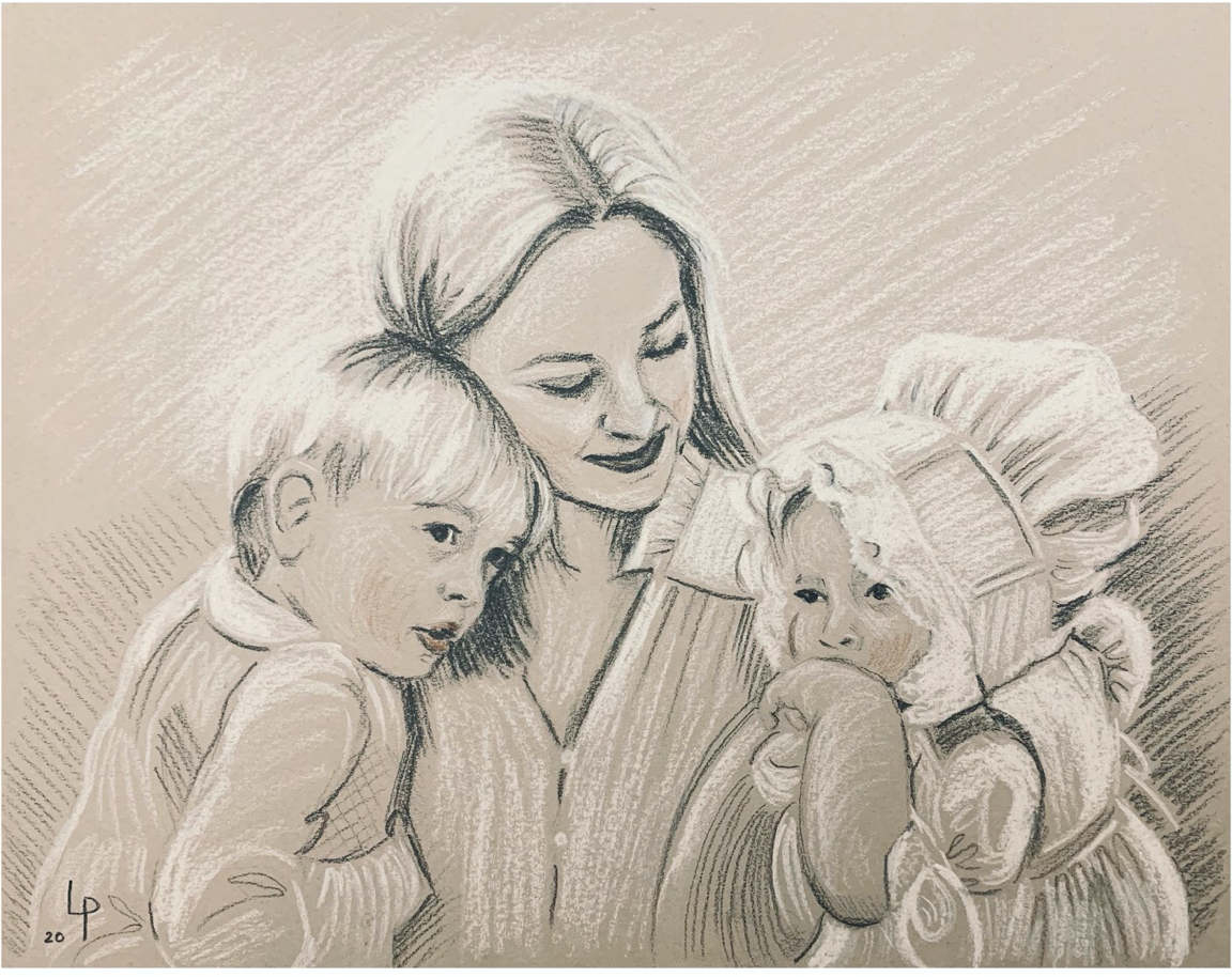 Lauren Phelps - Capturing the magic of childhood - Family charcoal portrait - Charlotte sy Dimby