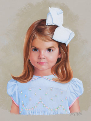 Sally Gates - children's Pastel portrait in smocked dresses