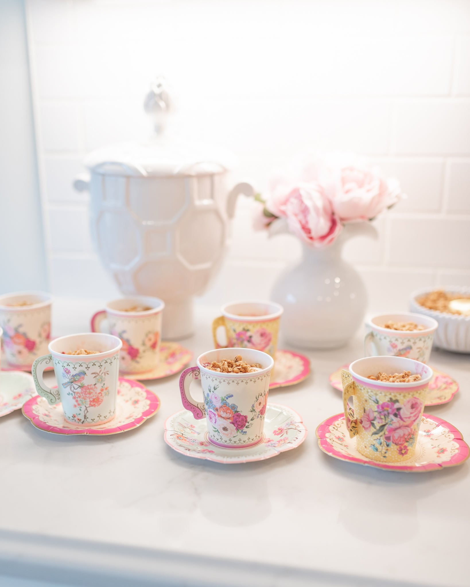 Yoghurt parfait bar tea cups - birthday party inspiration The Brooke Brooke Charlotte sy Dimby celebrating the magic of childhood