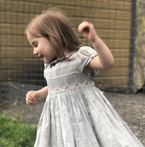 handmade amandine loggia smocked dress happy little girl easter charlotte sy dimby frenchstyle