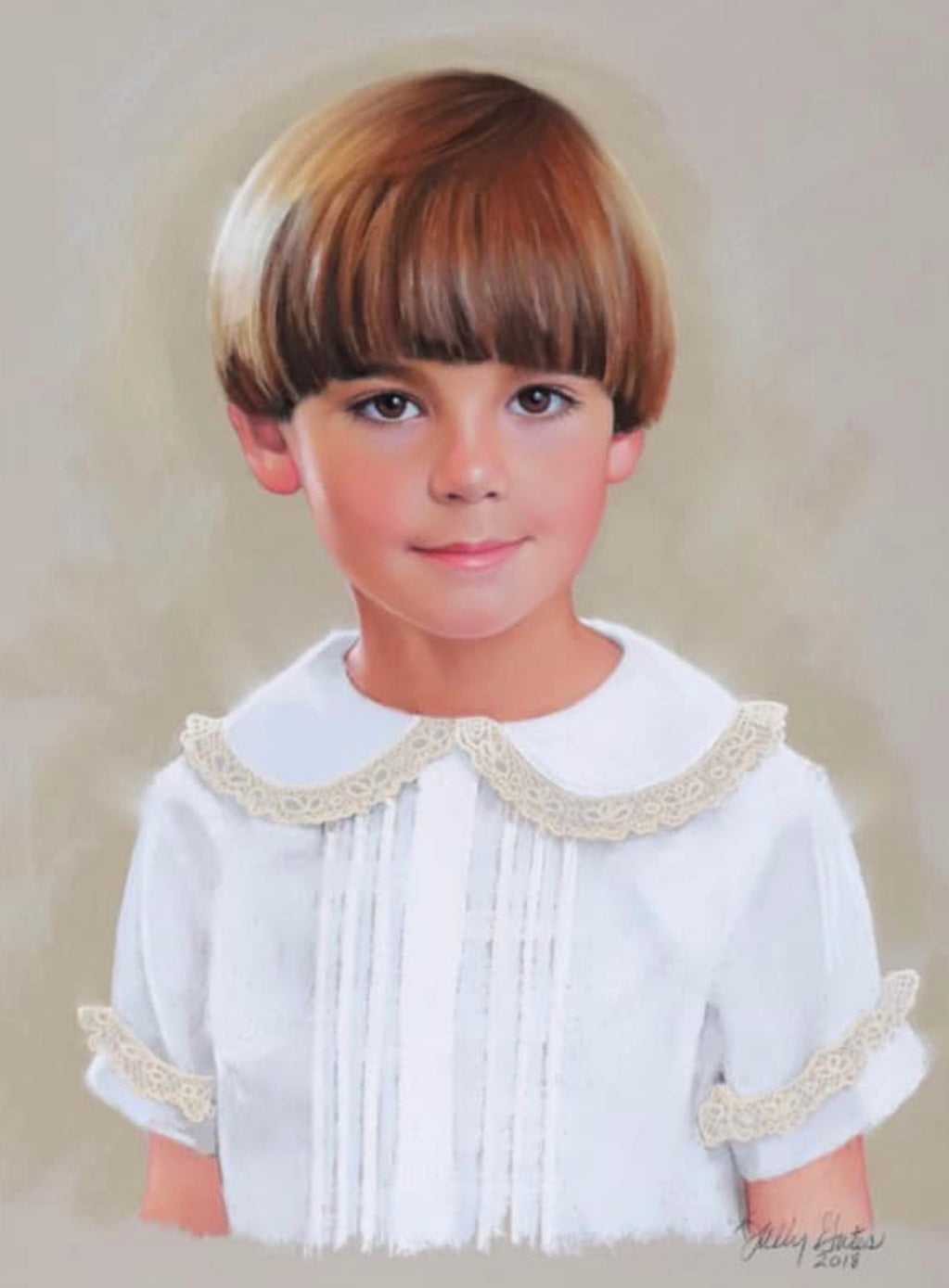 Pastel art child portrait in traditional clothing painted Sally Gates - Capturing the magic of childhood with Charlotte sy Dimby