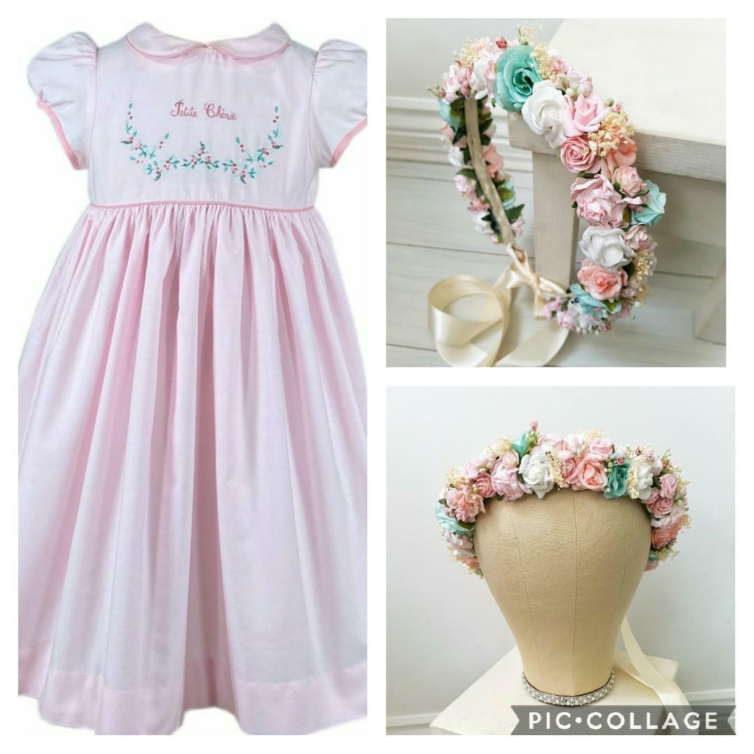 Custom made floral crowns and matching embroidered dress for children - flower girl romantic look