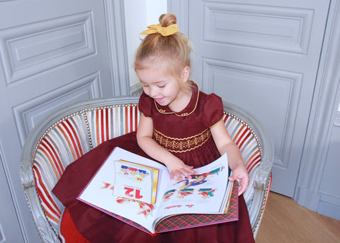Charlotte sy Dimby handmade smocked dress gold party frenchstyle kids