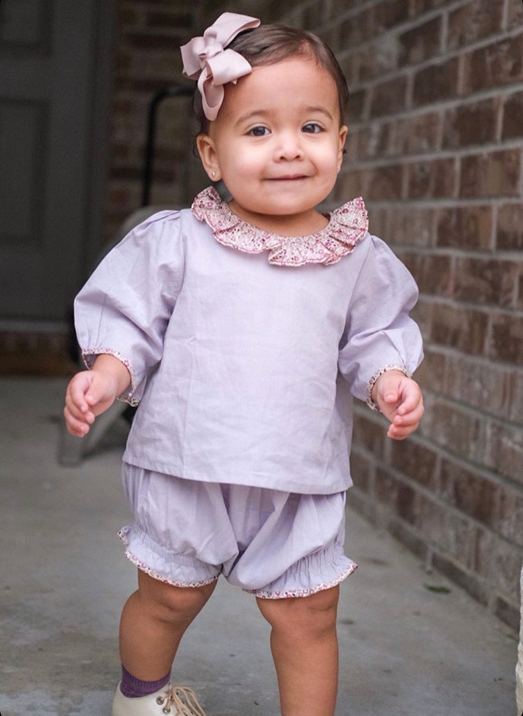 handmade baby outfit blouse and matching bloomer summer set
